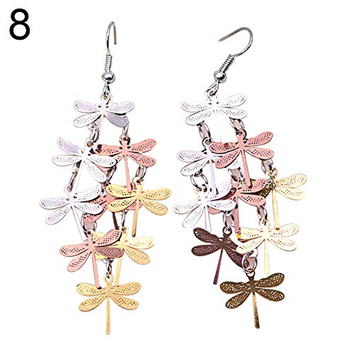 Hbinydepial Dragonfly Hollow Dangle Hook Earrings Women Party Fashion Elegant Jewelry Decor ()