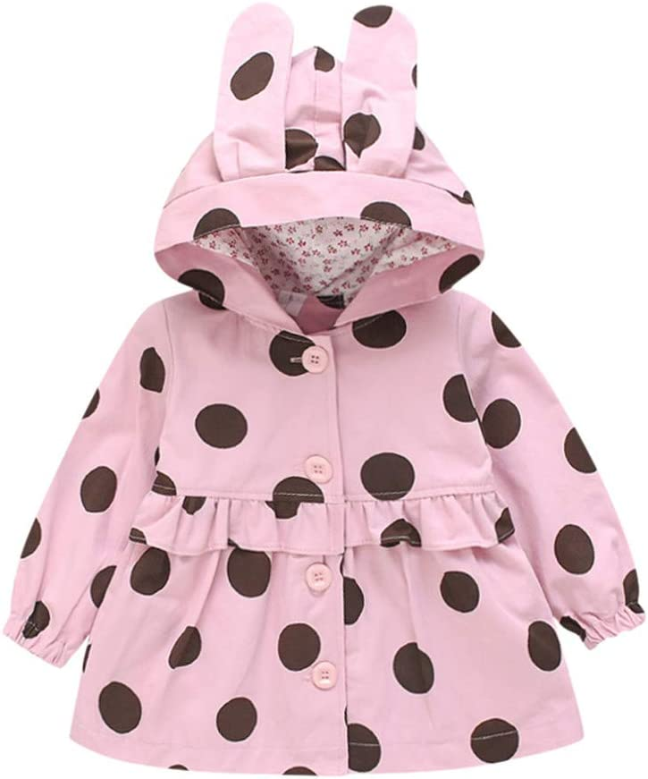 Fabal Thicken Fashion Simple Design Toddler Baby Girls Winter Dot Print Windproof Coat Hooded Warm Outwear Jacket Yellow,80//8