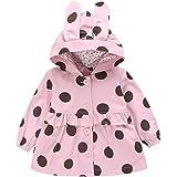 Tronet Baby Winter Warm Coat Children's Long Sleeve Ruffle Polka Dot Print Hooded Cotton Jacket