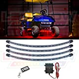 LEDGlow 4pc. Red LED Golf Cart Underbody Underglow Light Kit - Water Resistant Flexible Tubes - Includes Wireless Remote