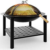 Deuba® Feuerstelle rund   50x50   Feuerhaken   Funkenfluggitter   Ablagefach   Feuerkorb Feuerschale Grillfeuer Lagerfeuer