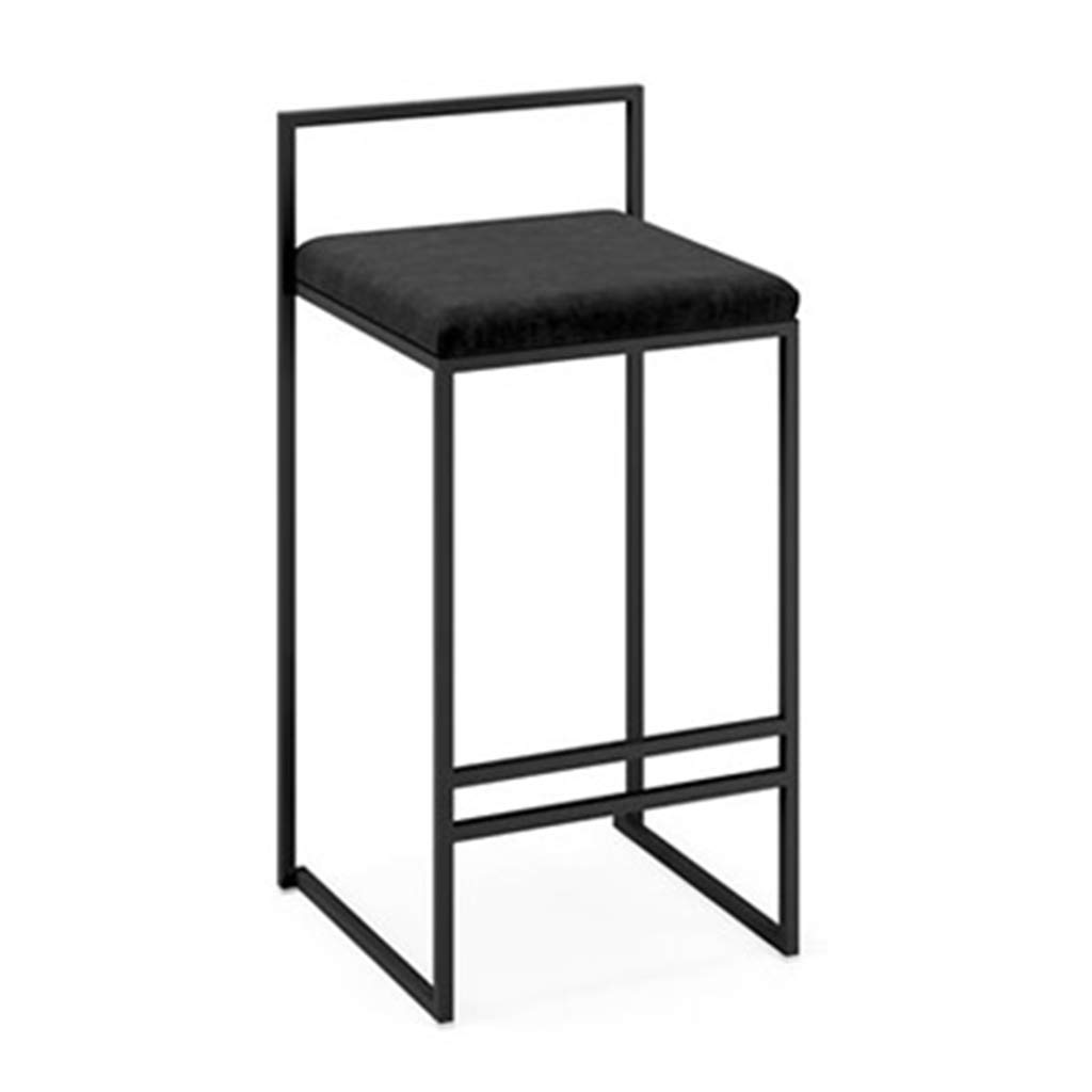 Black 76cm DingHome-ca Iron Art Bar Stool - Flannel Cushion Iron Black Leg Bar Leisure Stool for Family Counter Kitchen Breakfast Bar
