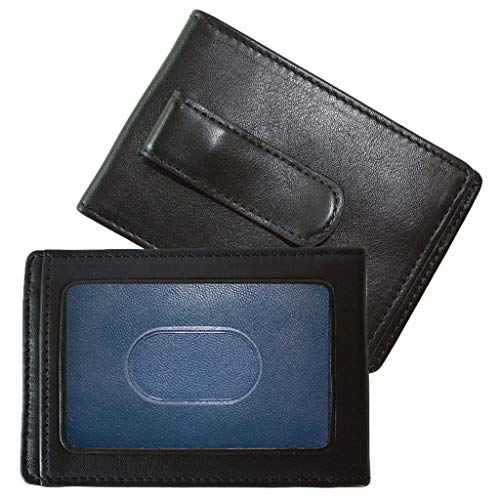 Boconi Collins Calf RS RFID Two Fold Money Clip (Black Calf w/blue)