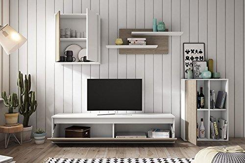 Muebles Place-Salón Comedor Moderno Tex/Mueble TV de 160 cm/Color Blanco y Roble/Modulos Que posibilitan el Libre Montaje: Amazon.es: Hogar
