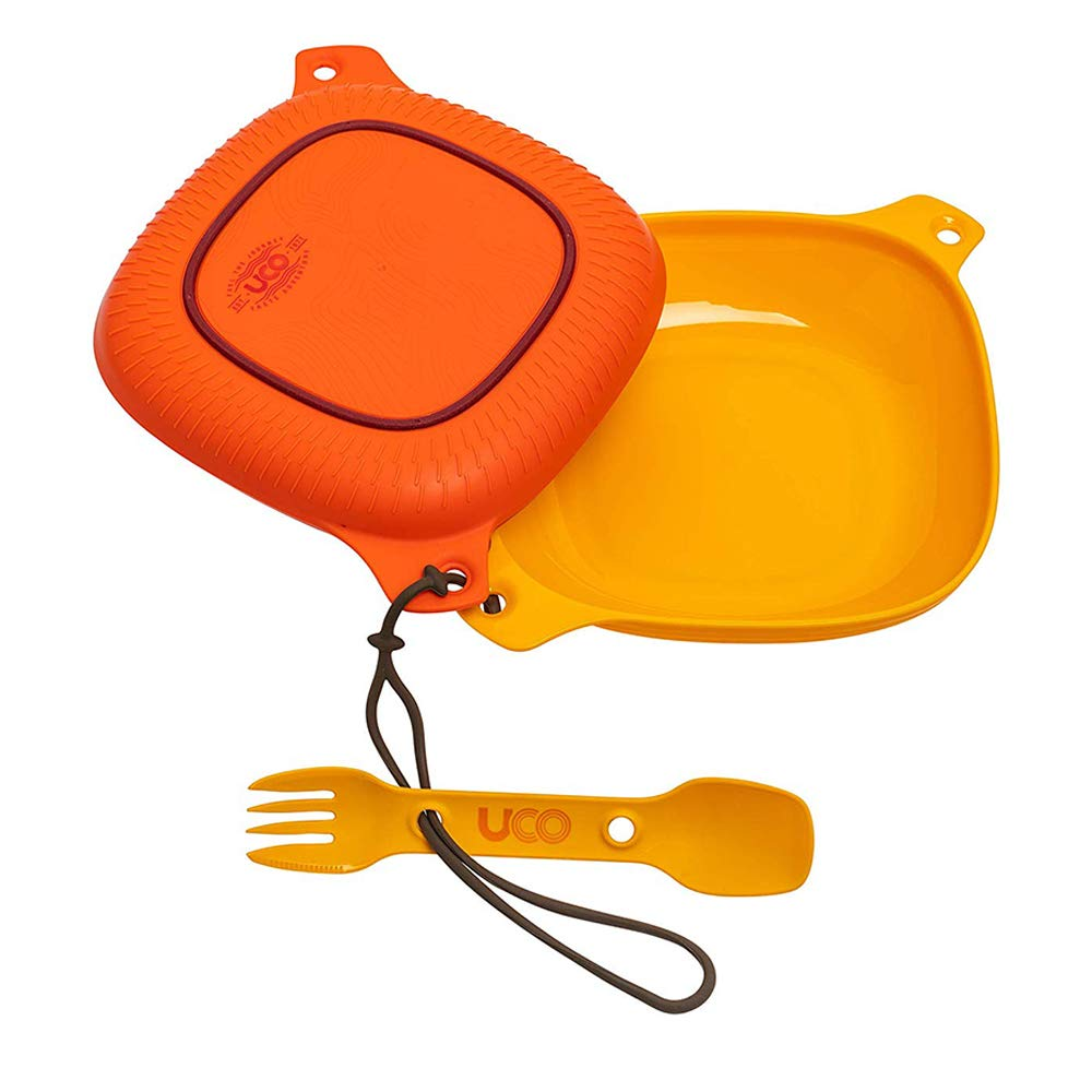 UCO 4-Piece Camping Mess Kit with Bowl, Plate and 3-in-1 Spork Utensil Set (New Version) by UCO