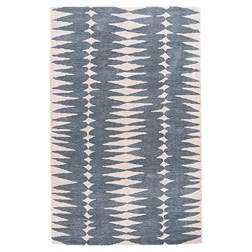 (Kathy Kuo Home Victor Modern Blue Ivory Wool Geometric Pattern Rug - 2' x 3')