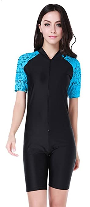 e3e6bc167ef0b Fortuning s JDS® Women s one-piece surf swimsuit short sleeve letter  printed swimwear rashguard with