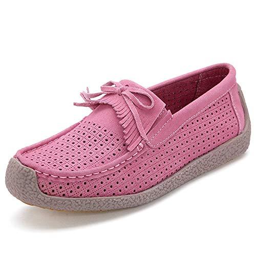 Zapatos de tacón para Mujer Boca Poco Profunda Fondo Plano Color sólido Antideslizante Zapatos de Mujer Salvaje Pink