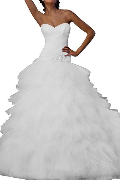 Gorgeous Novia con tul vestido largo vestido de novia elegante boda Blanco blanco