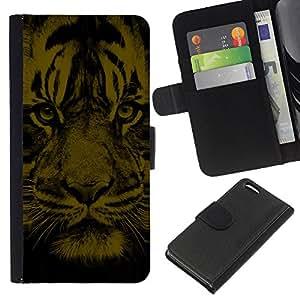 KLONGSHOP // Tirón de la caja Cartera de cuero con ranuras para tarjetas - Cara del tigre - Apple Iphone 5C //