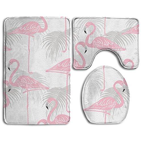 Usieis Flamingo Non-Slip Toilet Rug Set 3 Pcs Bathroom Mat Rug Lid Toilet Cover