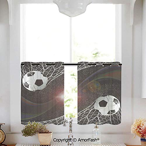 Teen Room Decor Sheer Curtain Tailored Short Curtains for Bathroom Window Covering Kitchen Cafe Curtains,W52 x L45-Inch,Soccer Balls Goal Match Success Concept in Outer Space Winner Glory Theme