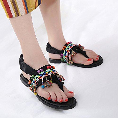 GTVERNH personaggi i 35 black nappe sandali i sandali appartamento moda Fn1rHF
