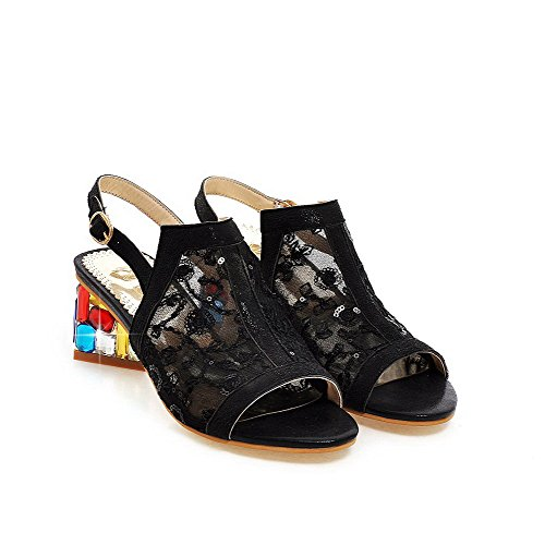 Amoonyfashion Donna Fibbia Gattino Tacchi Paillettes Colori Assortiti Sandali Open Toe Neri