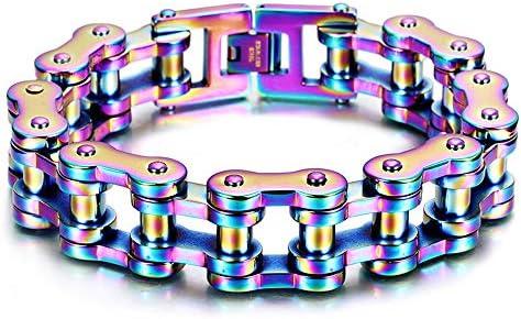 ZHHAOXINJE Wunderbar Titan Stahl Armband, Titan Stahl Kette Armband Motorcycle Chain Heavy Bracelet Farbe Kette Herren Armband, Niemals Rosten, Nicht Verformend Und Keine Allergien Unisex, Colorful