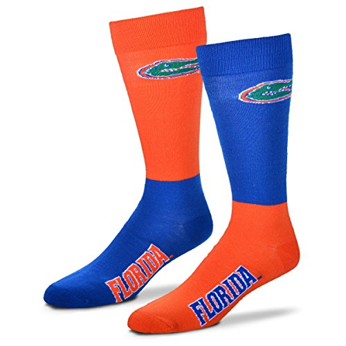 For Bare Feet NCAA 4-Square Mismatch Socks-Size Large (10-13)-Florida Gators