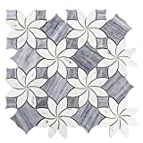 Waterjet Design Marble Mosaic Tile, WJM 1001 - Blossom, 11-1/2''X11-1/2'', Polished (Single Seet)