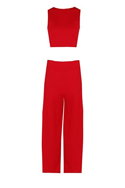 2713df5c860 Boohoo Womens Sally Boxy Crop Top & Culotte CO-Ord In Red Size 6 ...