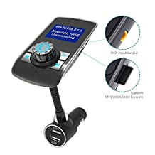 FM Transmitter, ARCHEER Wireless Bluetooth MP3 Player FM Transmitter Car Radio Kit with USB Car Charger Hands Free Calling for iPhone 7 SE 6s 6s Plus, iPad, HTC and Other Smartphone
