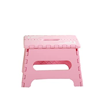 simple and modern thicker folding stool portable small bench support adults and kids pink