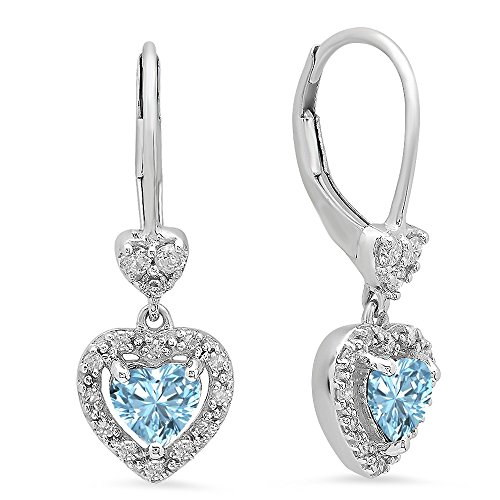 - Dazzlingrock Collection 10K Heart Cut Aquamarine & Round White Diamond Ladies Heart Dangling Drop Earrings, White Gold