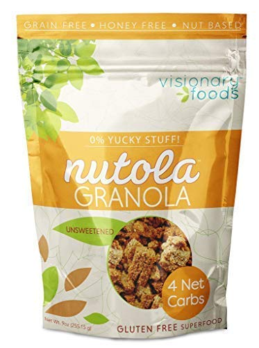 (Visionary Foods - Paleo Low Carb Low Sugar Vegan Granola - Keto Diet - Healthy Snack Supplement - Grain Free - Gluten Free Nutola Unsweetened (9oz))