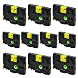 SuperInk 10PK Compatible for Brother HSe-611 HSe611 HS-611 HS611 Black on Yellow Heat Shrink Tube Label Tape use in Brother PT-E300 PT-E500 PT-E550W PT-P750WVP Printer (0.23''x 4.92ft, 5.8mm x 1.5m)
