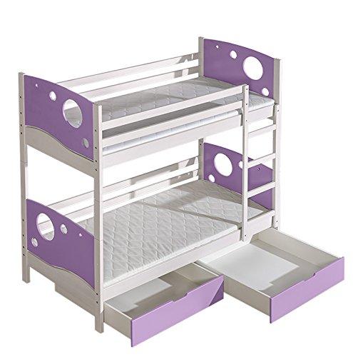 Kinderbett Etagenbett Milo 27 inkl. 2 Schubladen, Farbe  Weiß Lila, teilmassiv, Liegefläche  80 x 190 cm (B x L), teilbar