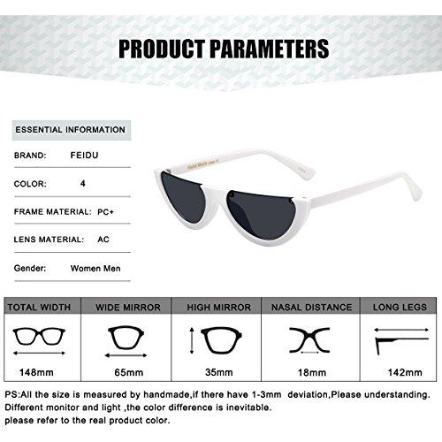 FEIDU Fashion Cat Eye Sunglasses for Women Retro shades Glasses FD 4005 Black/White1
