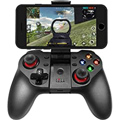 """Bluetooth Wireless Game Controller  NOTE: Our controller can work with Fotnite perfectly use key mapping,you can download the app named """"shootingplus V3"""", the problem such as connection or can't control two buttons at the same time, it is due..."""