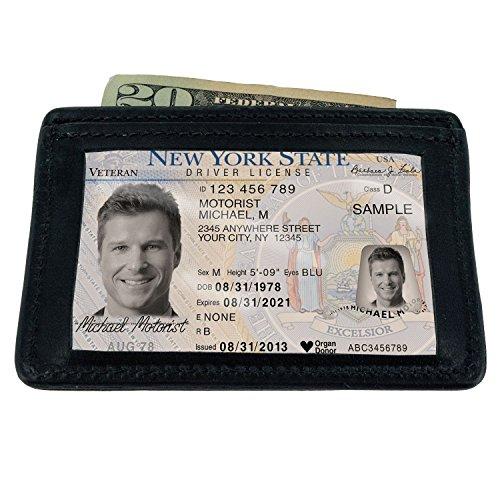 Card ID Year Holder ID amp; 100 Pocket Black Wallet Warranty Minimalist Front Thin Hanks Leather 1HqzUU