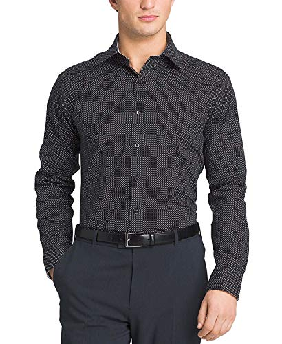 Sean John Men's Big & Tall Classic-Fit Dot Dress Shirt Dark Black 17.5 3738