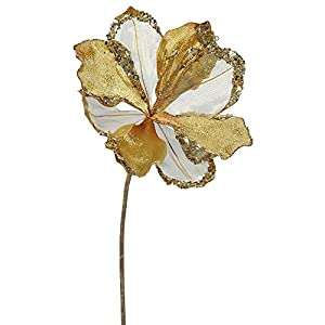 """VCO Pack of 3 Gold Amaryllis Flowers with Glitter and Sequins Artificial Floral Stems 20"""" 72"""