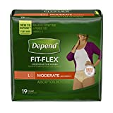 Health & Personal Care : Depend Fit-Flex Underwear for Women, Moderate Absorbency, Large, 19 Count