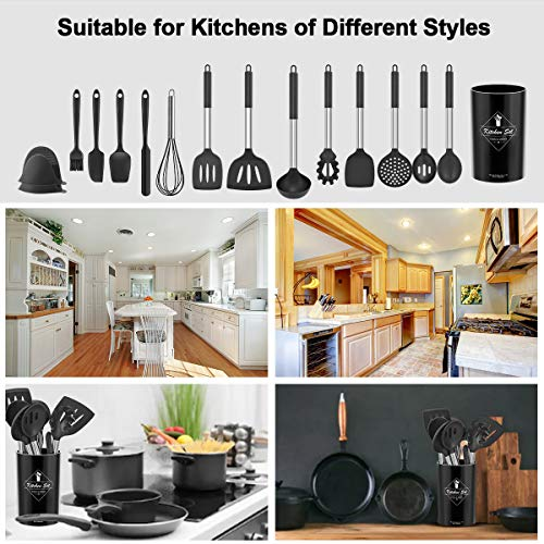 Silicone Kitchen Cooking Utensils Set with Holder, Nonstick Heat Resistant Cookware with Stainless Steel Handle, Spatula Set Kitchen Tools Best Gift for Women Men