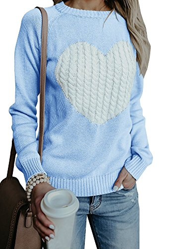 Jeanewpole1 Womens Cute Heart Printed Pullover Crew Neck Casual Knitted Sweater ()