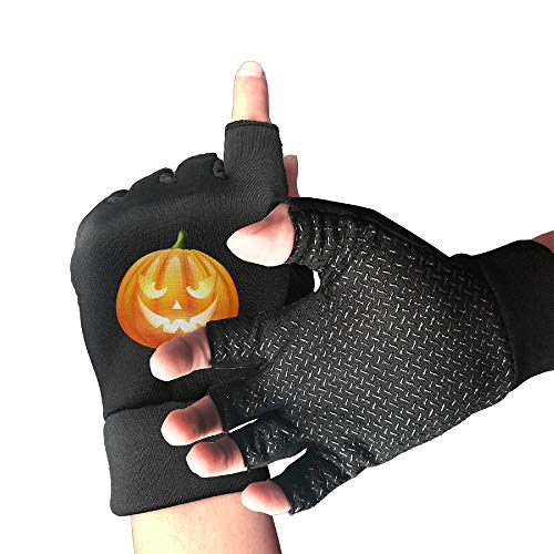 Adetad Non-Slip Half Finger Cycling Gloves Halloween Pumpkin PNG Clipart Image Exercise Gloves for Gym Weight Lifting Training Fitness Biking]()