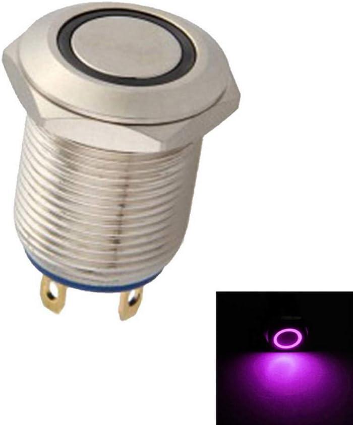 Mintice Kfz 12mm Lila Led Licht 2a Momentaner Druckknopf Wasserdicht Kippschalter Metall Schalter Auto