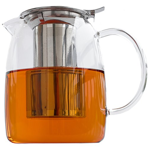 Hand Blown Glass Teapot with Infuser Filter for Loose Leaf Tea - 1200ml / 40oz - Stovetop Safe - Glass Pitcher Holds 4 to 5 Cups