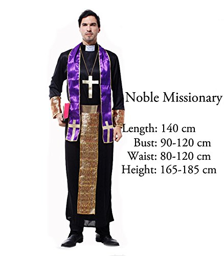 [O-O Cosplay Halloween Costume Madonna Pastor Jesus Pope Nun Stage Cosplay Costume (Noble] (Missionary Costumes)