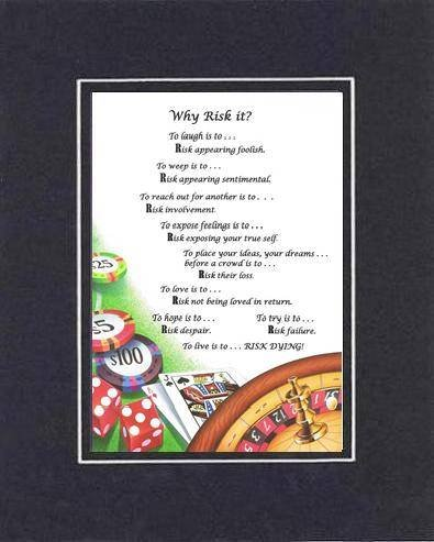 Amazon com: Touching and Heartfelt Poem for Motivations - Why Risk