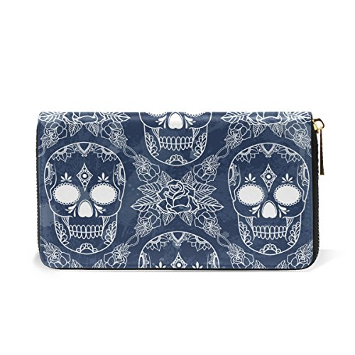 Handbags Around Purses Skull Retro Organizer And Wallet Flower TIZORAX Zip Womens Leather Clutch qzPcZgw