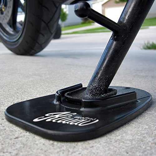 KiWAV Motorcycle kickstand pad support for soft ground outdoor parking, Black (pack of 1) - Kickstand Stand