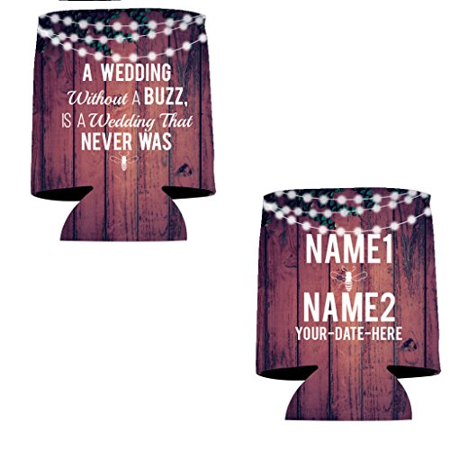 "VictoryStore Can and Beverage Coolers: Neoprene Customizable ""Without A Buzz"" Wedding Can Coolers - 100pc"