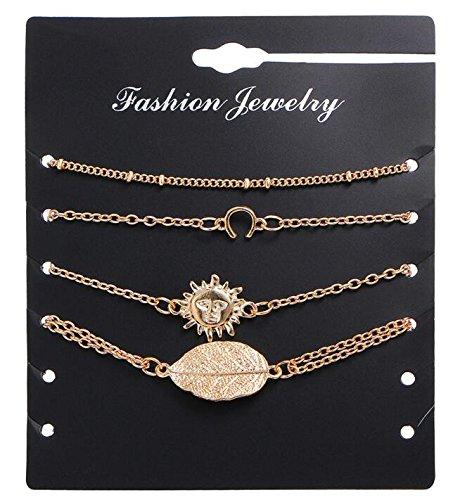 Simple Bracelet 4 Piece Set Sun Leaf Bracelet Anklet