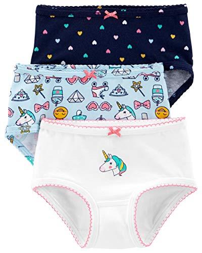 Carter's Little Girl's 3-Pack Stretch Cotton Panties (8, Unicorn(33309414)/Rainbow Hearts) (Cotton Jersey Rainbow)