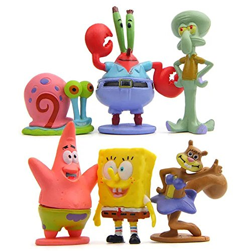 LW 6 pcs Lovely Animal Characters Toys Mini Figure Collection Playset, Cake Topper, Plant, Automobile Decoration