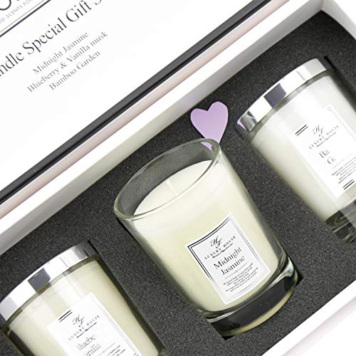 Aronica Fragrance Soy Candle Gift Set (3.5Oz x 3pcs) - Midnight Jasmine, Bamboo Forest, and Blueberry Vanilla Musk