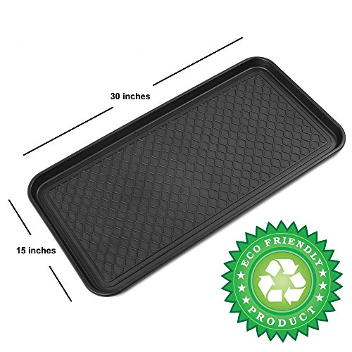 Premium Eco Friendly Multi-Purpose Boot Mat & Tray for Cat Litter Dog Food Bowls Paint Shoes Gardening & More - 30x15x1.2 - Indoor & Outdoor Mat for Floor Protection or Trunk Cargo - Utility Tray for Pantry Laundry Kitchen Garage - By Californ...