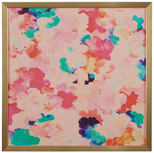 Spring Pink Floral Print in Gold Wood Frame Wall Art, 12 x 12